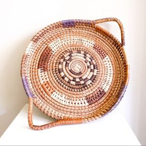 Vintage Round Boho Woven Tray Basket with Handles